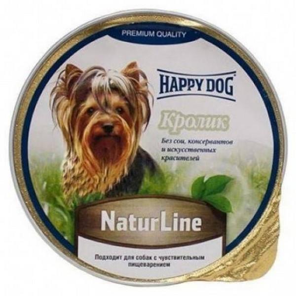 Фотография Консервы для собак Happy Dog NaturLine паштет, кролик, 125г №1