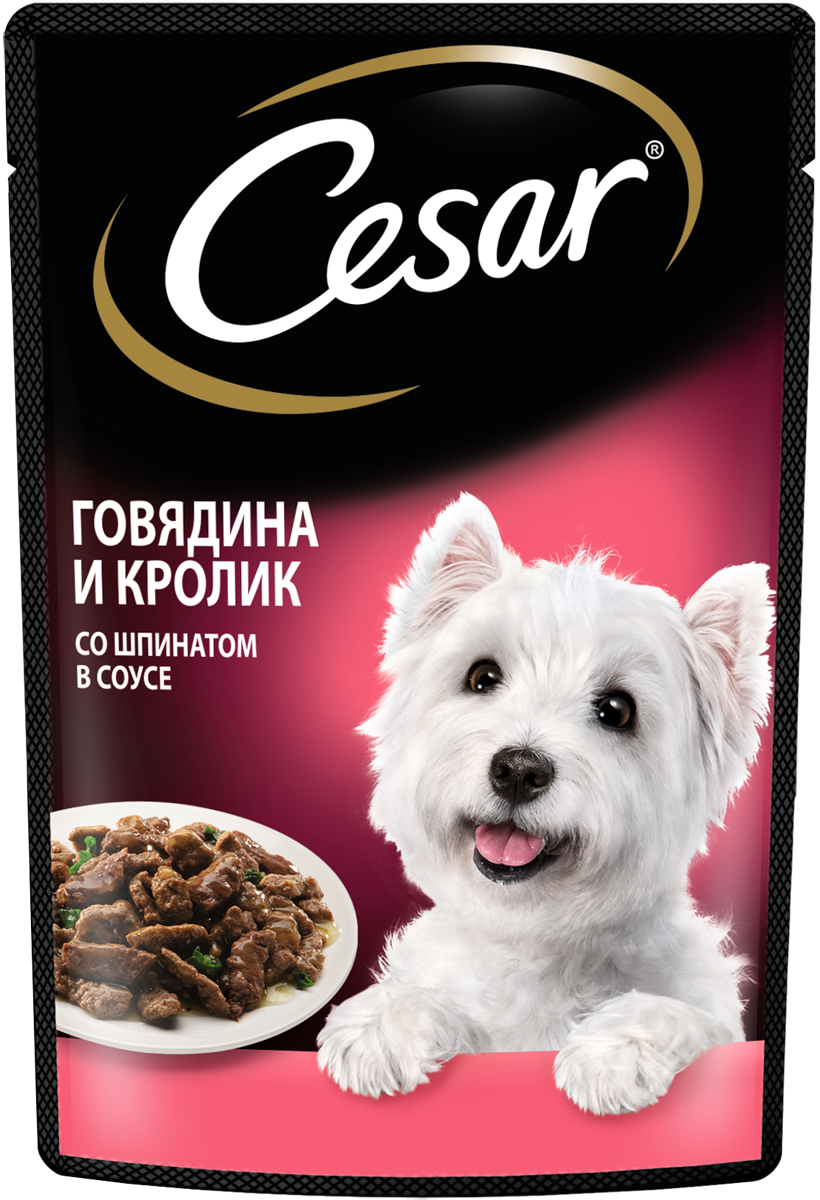 Влажный корм для собак Cesar , говядина, кролик и шпинат в соусе, 28шт, 85г