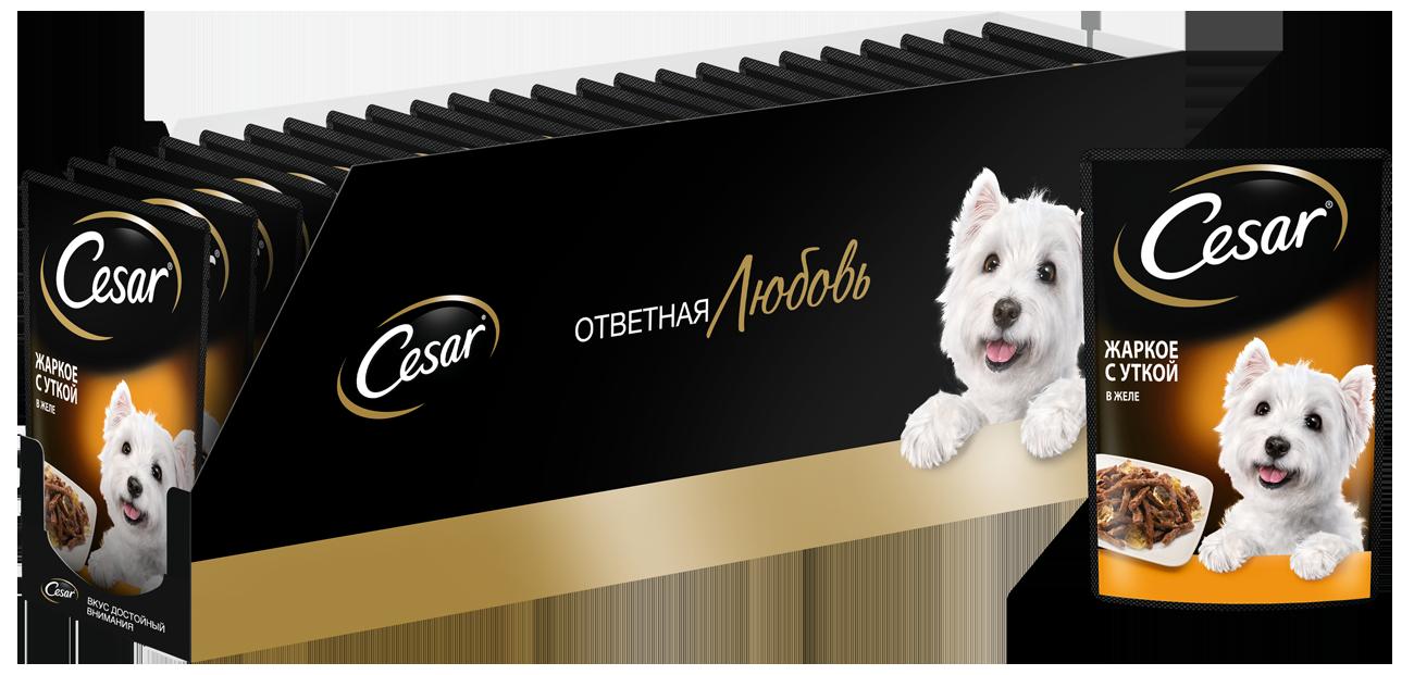 Влажный корм для собак Cesar , утка, 28шт, 85г