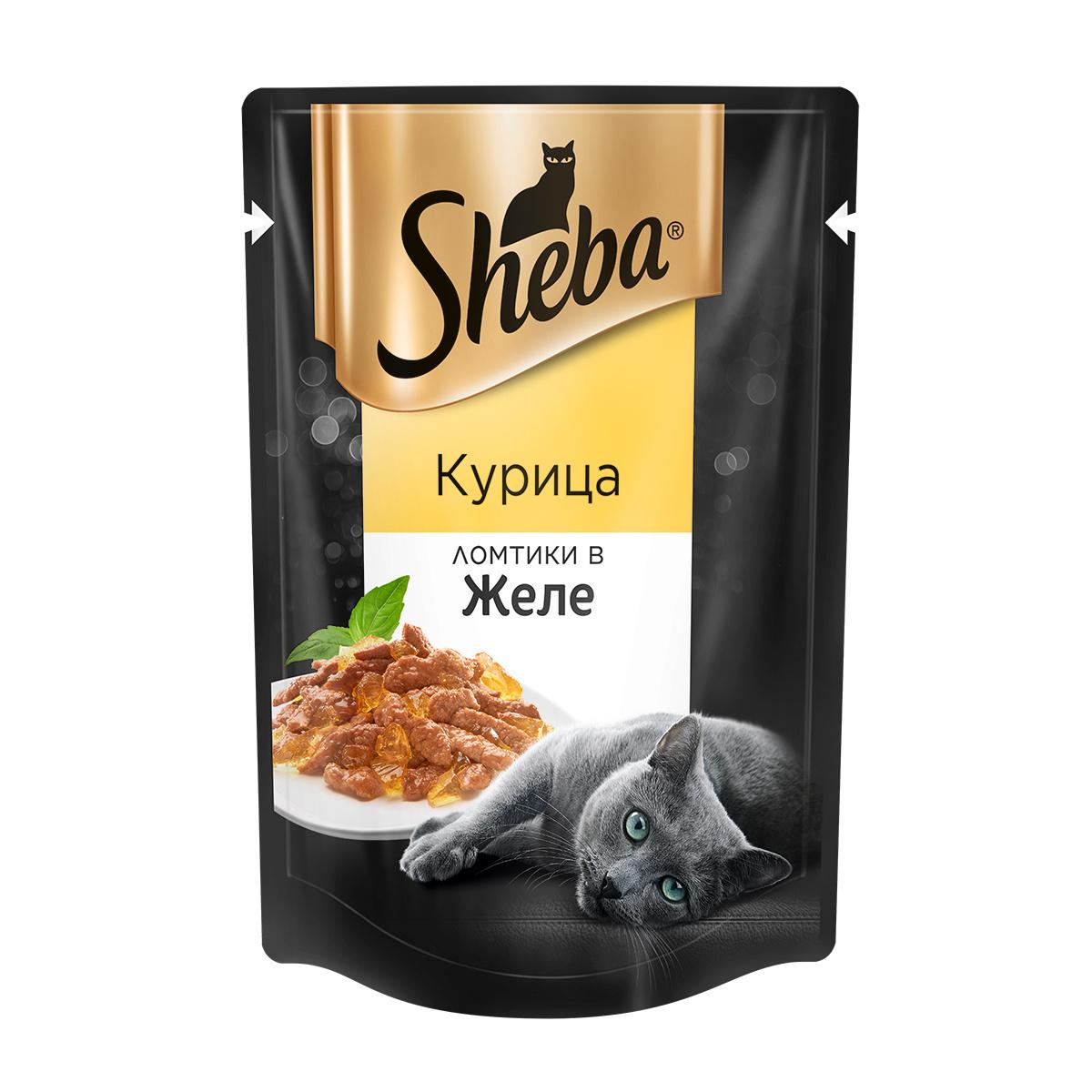 Миниатюра Влажный корм для кошек Sheba, ломтики в желе, курица, 85 г №1