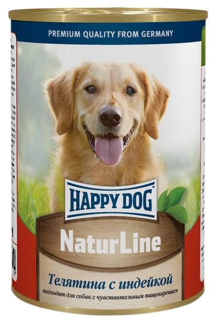 Миниатюра Консервы для собак Happy Dog NaturLine, с телятиной и индейкой, 20шт по 400г №1