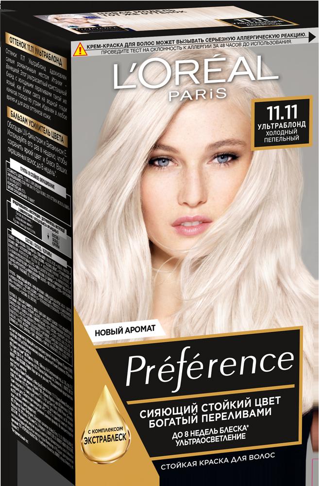 Миниатюра Краска для волос L`Oreal Paris Preferance 11.11 Ультраблонд пепельный 40 мл №1