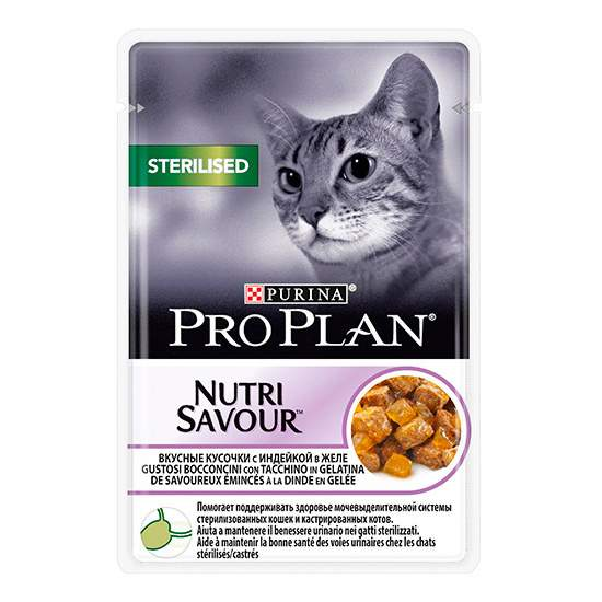 Влажный корм для кошек PRO PLAN Nutri Savour Sterilised, индейка, 85г