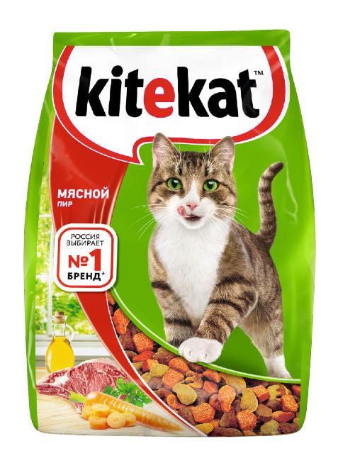 Сухой корм для кошек Kitekat, мясной пир, 0,35кг