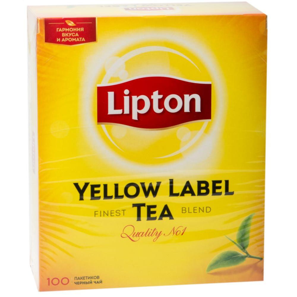 Чай черный Lipton yellow label tea 100 пакетиков