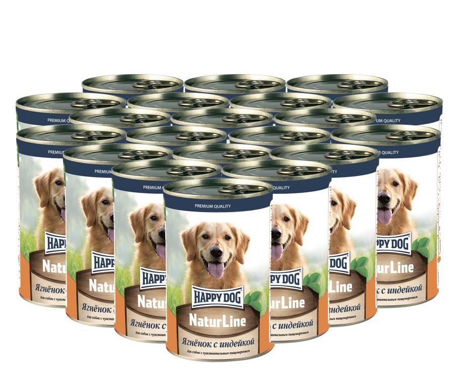 Фотография Консервы для собак Happy Dog Natur Line, индейка, ягненок, 10шт по 410г №1
