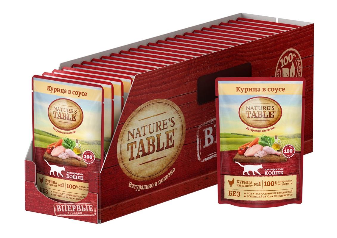 Миниатюра Влажный корм для кошек Nature's Table Курица в соусе, 24 шт по 85г №1