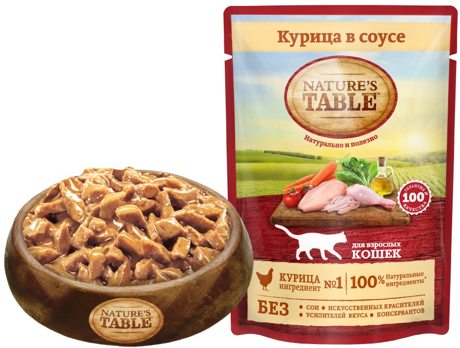 Миниатюра Влажный корм для кошек Nature's Table Курица в соусе, 24 шт по 85г №6