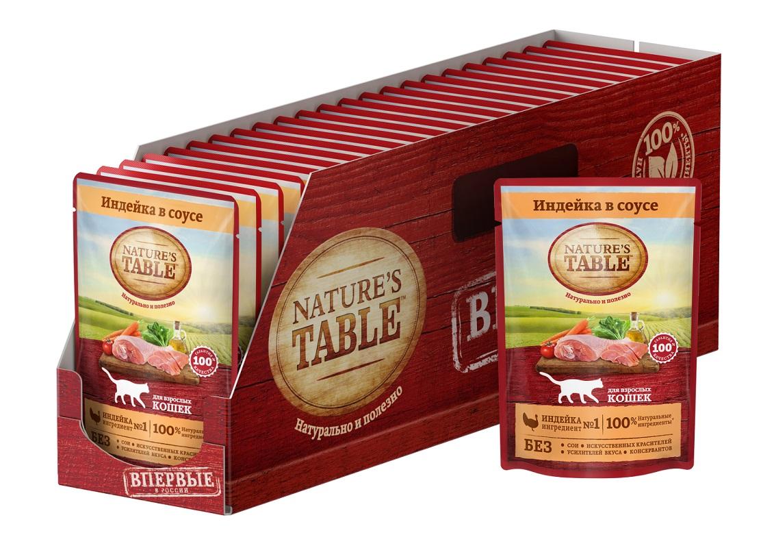 Влажный корм для кошек Nature's Table Индейка в соусе, 24 шт по 85г