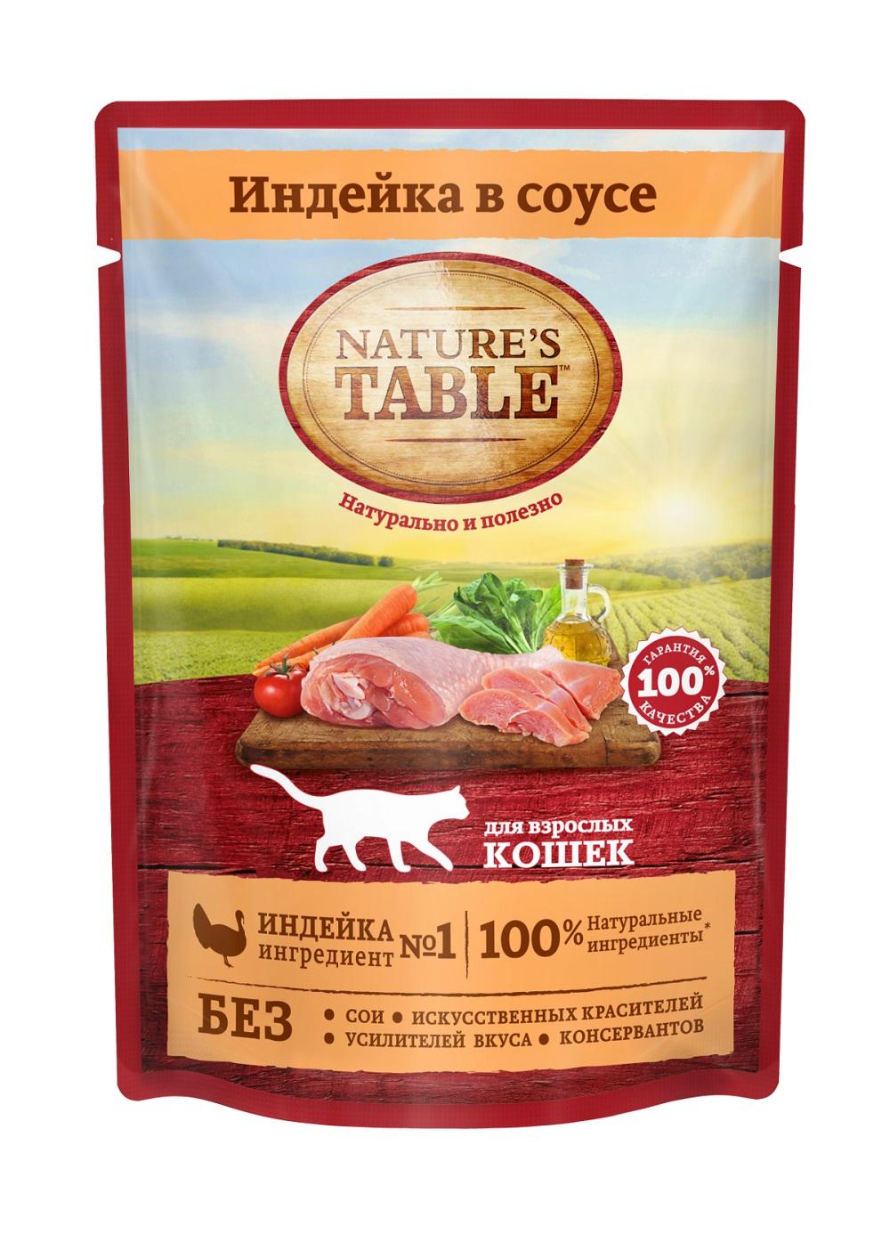 Миниатюра Влажный корм для кошек Nature's Table Индейка в соусе, 24 шт по 85г №2
