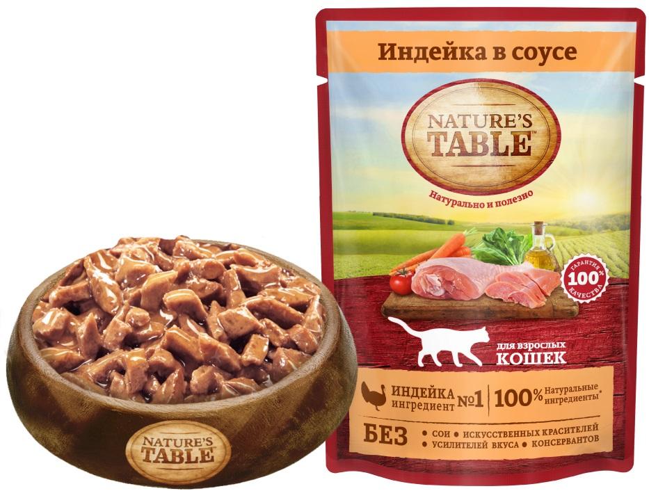 Миниатюра Влажный корм для кошек Nature's Table Индейка в соусе, 24 шт по 85г №6
