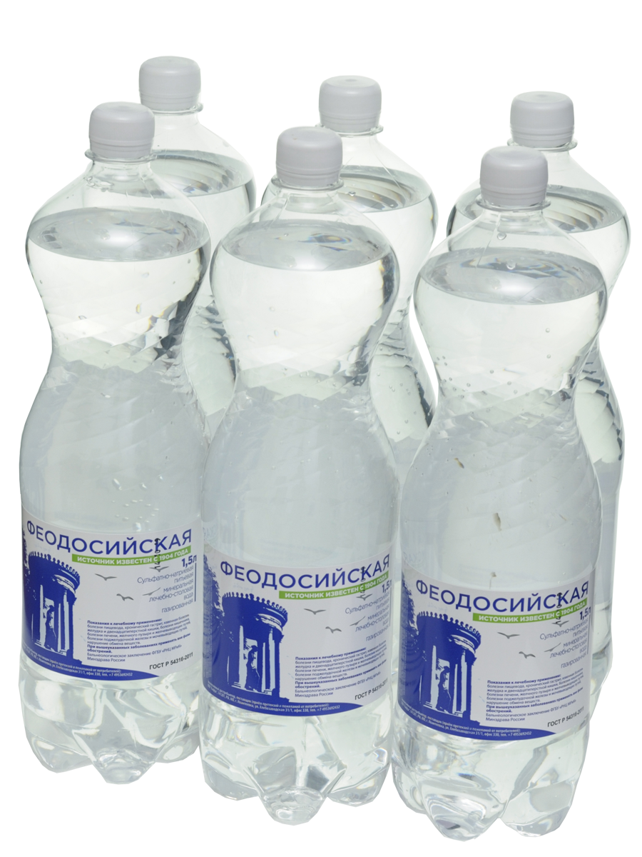 Вода минеральная природная лечебно-столовая Феодосийская пластик 1.5 л 6 штук