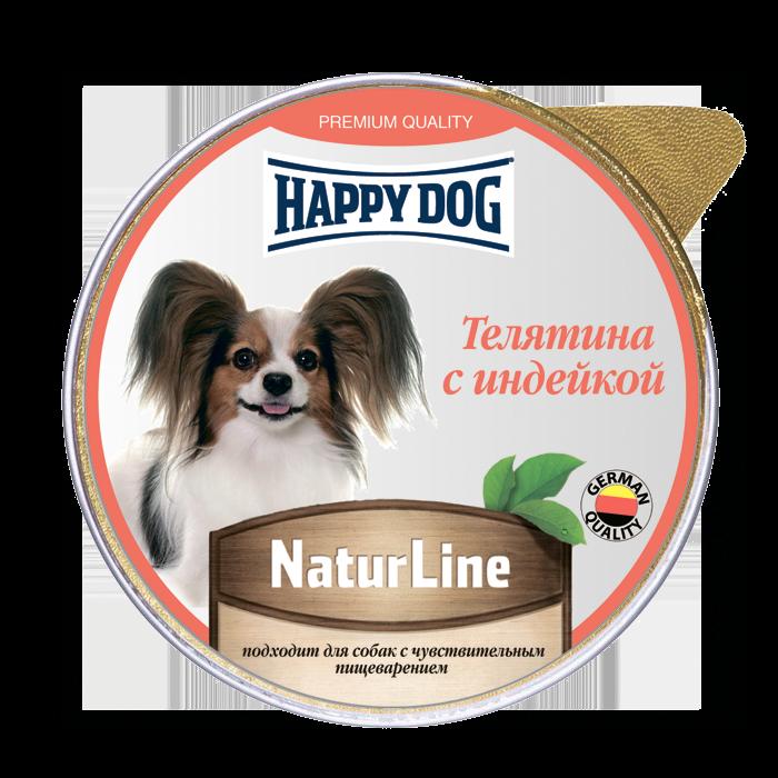 Фотография Влажный корм для собак Happy Dog Natur Line, телятина, индейка, 10шт, 125г №1
