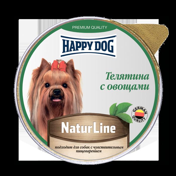 Фотография Влажный корм для собак Happy Dog Natur Line, телятина, овощи, 10шт, 125г №1
