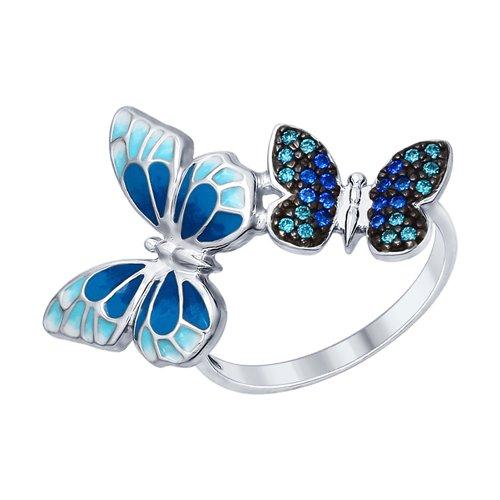 Серебряное кольцо женское «Бабочки» SOKOLOV 94012325 р.18.5