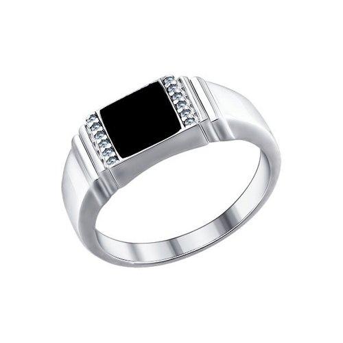 Печатка SOKOLOV из серебра с эмалью с фианитами 94011324 22.5