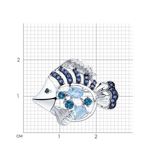 Брошь SOKOLOV из серебра с топазами и фианитами 92040074