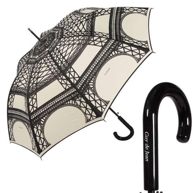 Зонт-трость женский полуавтоматический Guy De Jean 1214-LA бежевый/черный