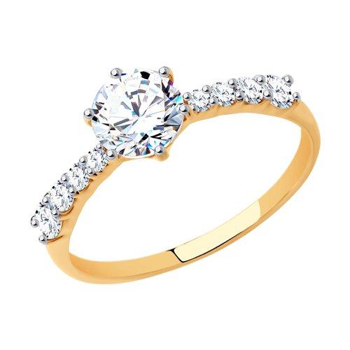 Помолвочное кольцо женское SOKOLOV из золота со Swarovski Zirconia 81010240 р.19