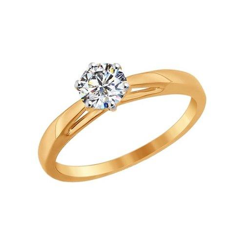 Помолвочное кольцо женское SOKOLOV из золота со Swarovski Zirconia 81010209 р.18.5