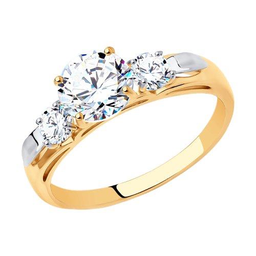 Помолвочное кольцо женское SOKOLOV из золота со Swarovski Zirconia 81010194 р.17
