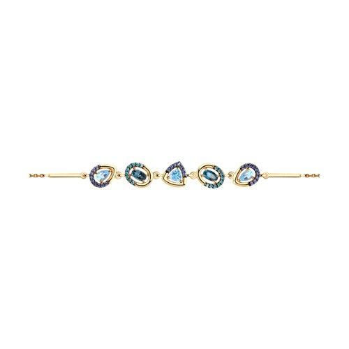 Браслет женский SOKOLOV из золота с топазами и фианитами 750333 р.18