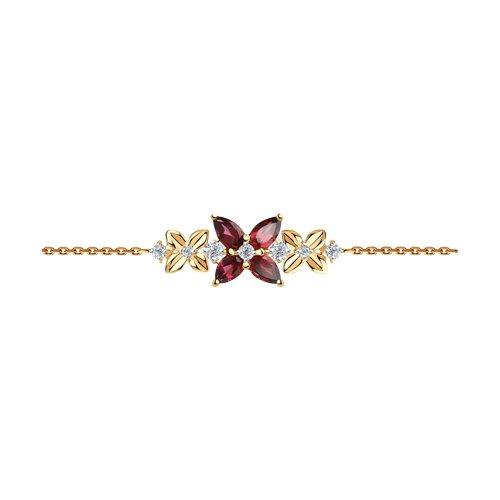 Браслет женский SOKOLOV из золота с родолитами и фианитами 750328