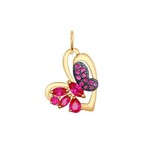 Подвеска «Бабочка» SOKOLOV из золота с корундами рубиновыми и красными фианитами 731506