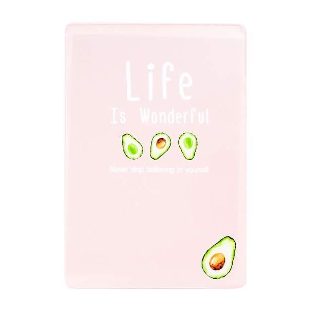 Обложка для проездного Kawaii Factory KW065 Life is - pink and avocado розовая