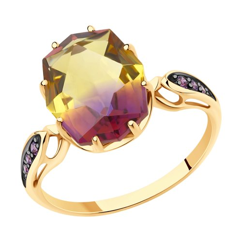 Кольцо женское SOKOLOV из золота с ситаллом аметрин и фианитами 715718 р.17