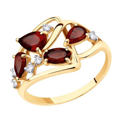 Кольцо женское SOKOLOV из золота с гранатами и фианитами 715594 р.17.5