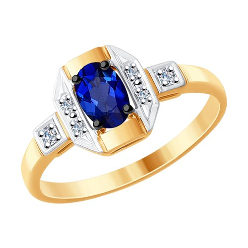 Кольцо женское SOKOLOV из золота с бриллиантами и синим корундом 6012119 р.16.5