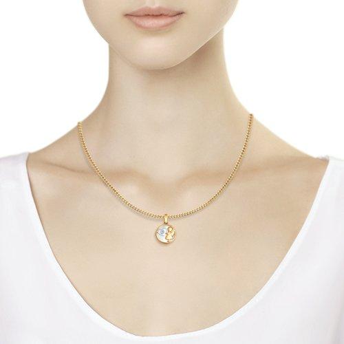 Подвеска «Ангел» SOKOLOV из золота с бриллиантом и белым перламутром 1030536