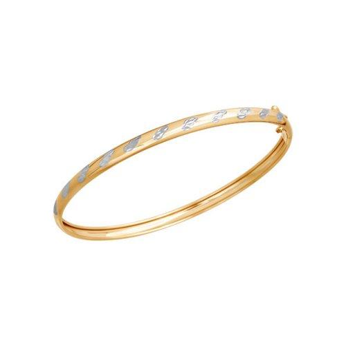 Браслет женский жёсткий SOKOLOV из золота с алмазной гранью 050365 р.17.5