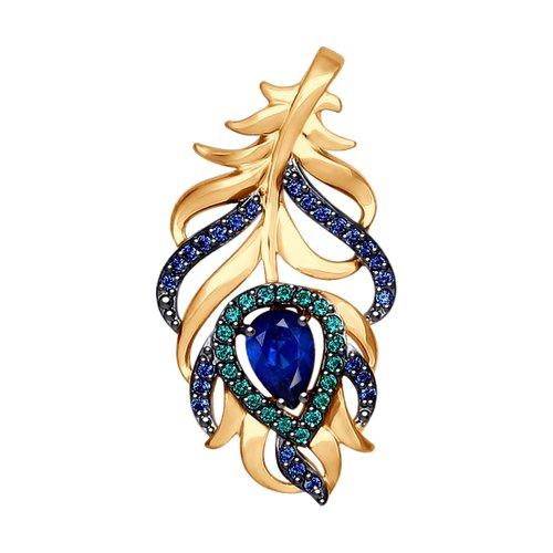 Подвеска SOKOLOV из золота с зелеными и синими фианитами 034934