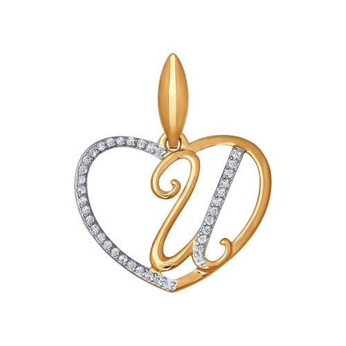 Подвеска-буква «И» SOKOLOV из золота с фианитами 034655