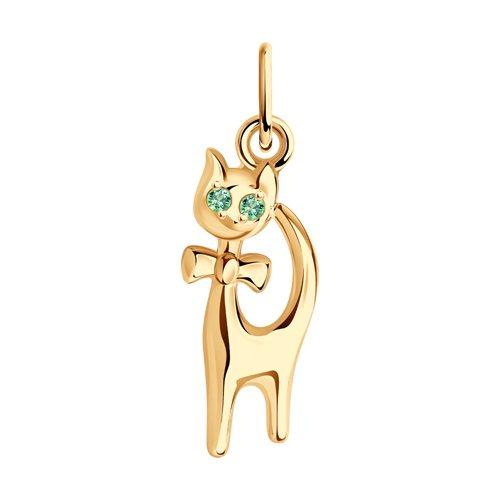 Золотая подвеска«Кошка» с зелеными фианитами SOKOLOV 033067
