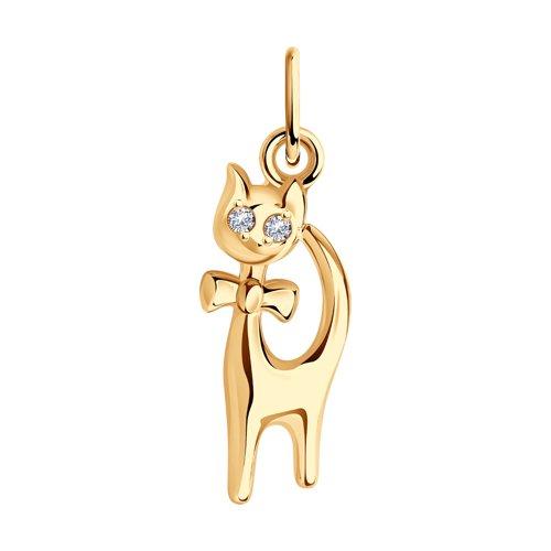 Золотая подвеска с кошкой SOKOLOV 033066
