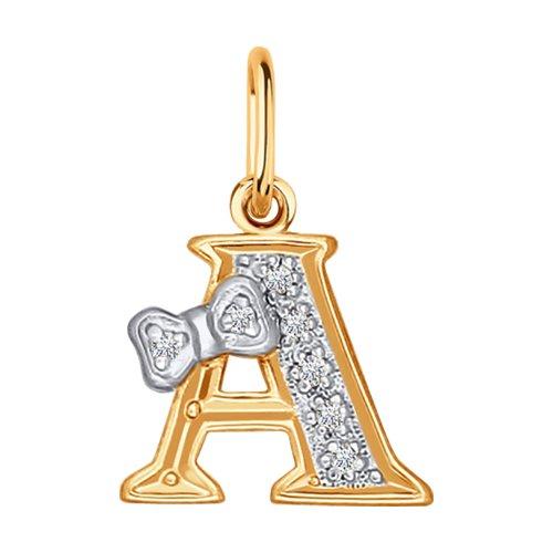 Золотая подвеска-буква «А» SOKOLOV 030650