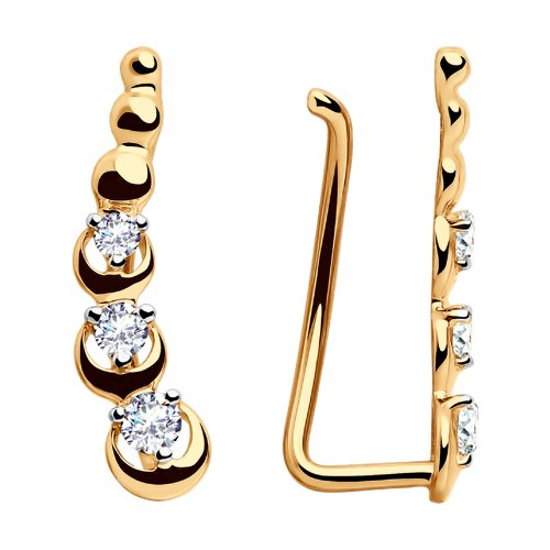 Серьги женские из золота SOKOLOV 028123, фианит