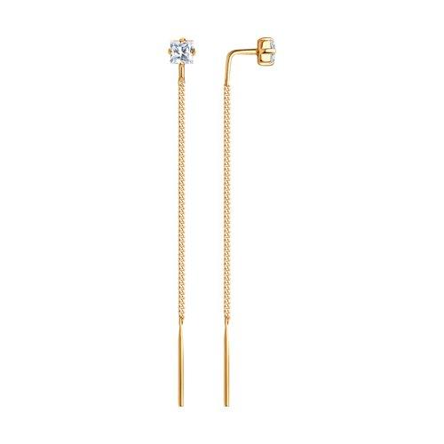 Серьги-цепочки SOKOLOV из золота с фианитами 020608