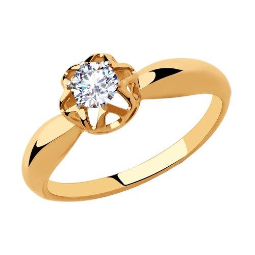 Кольцо женское SOKOLOV из золота с фианитом 018275 р.16