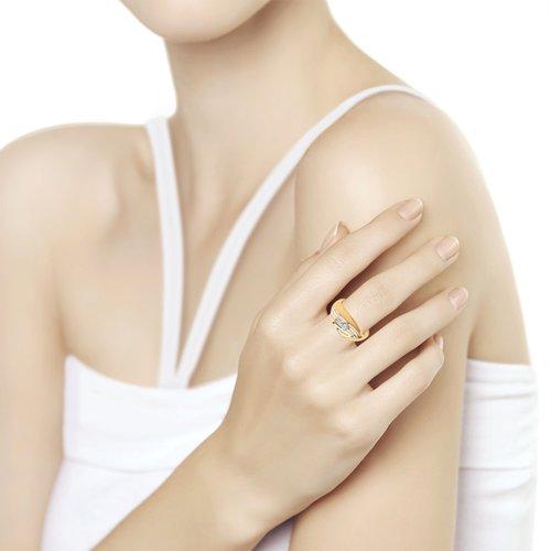 Кольцо женское SOKOLOV из золота с фианитом 018179 р.17