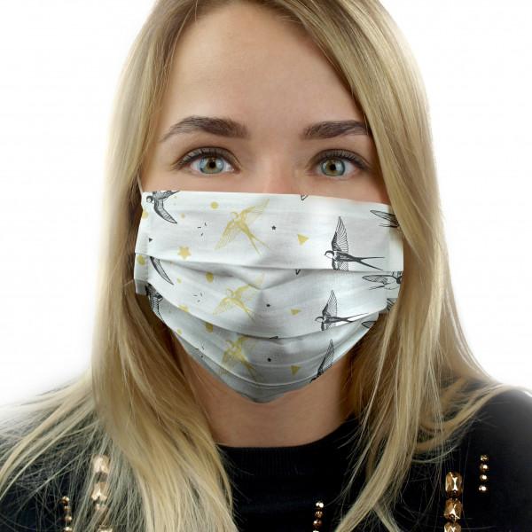 Многоразовая защитная маска MARENGO TEXTILE Черные ласточки белая 1 шт.