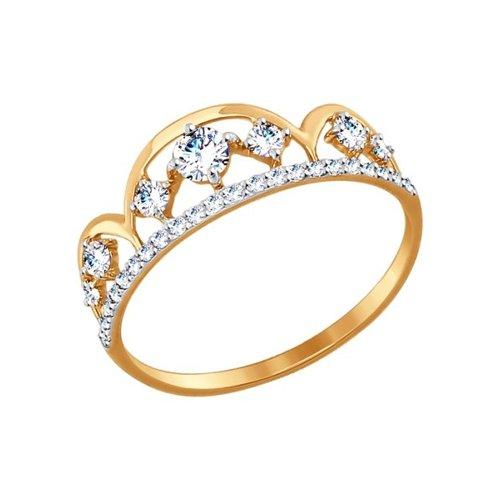 Кольцо женское SOKOLOV из золота с фианитами 017414 р.15