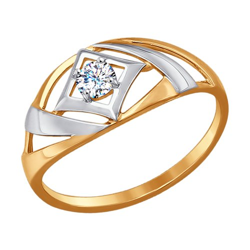 Кольцо женское SOKOLOV из золота с фианитом 017227 р.16.5