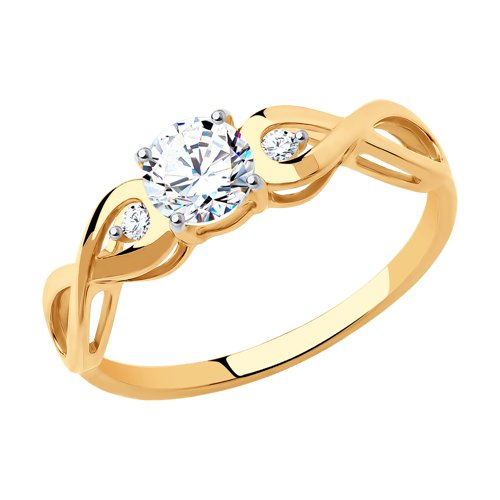 Помолвочное кольцо женское SOKOLOV из золота с фианитами 017154 р.15.5