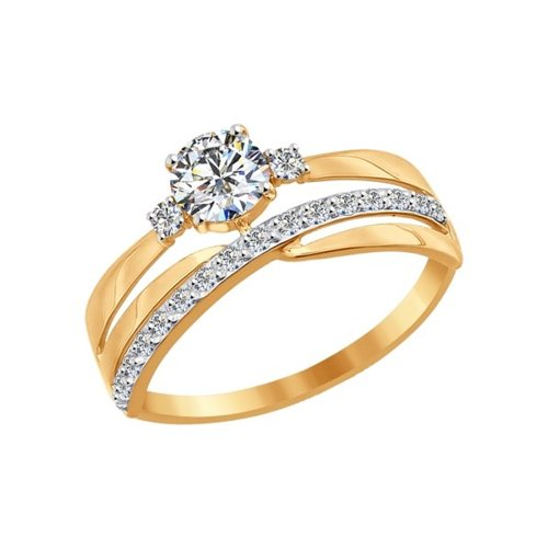 Кольцо женское SOKOLOV из золота с фианитами 016918 р.16