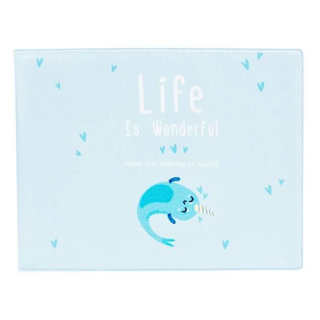 Обложка для студенческого Kawaii Factory KW067 Life is unicorn-fish голубая
