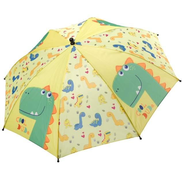 Автоматический детский зонт Bondibon Дракончики желто-зеленый, 19 см